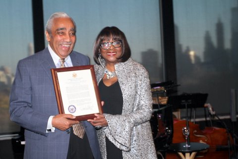 TRIBUTE PHOTO 3-Congressman Charles B. Rangel presents proclamation to Audrey