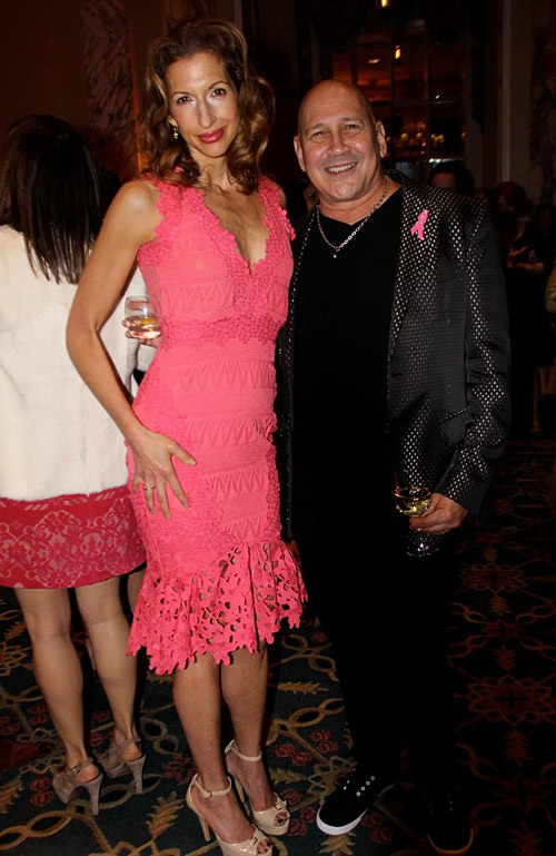 Actress Alysia Reiner in Nicole Miller and famous designer Carmen Marc Valvo in his own designs