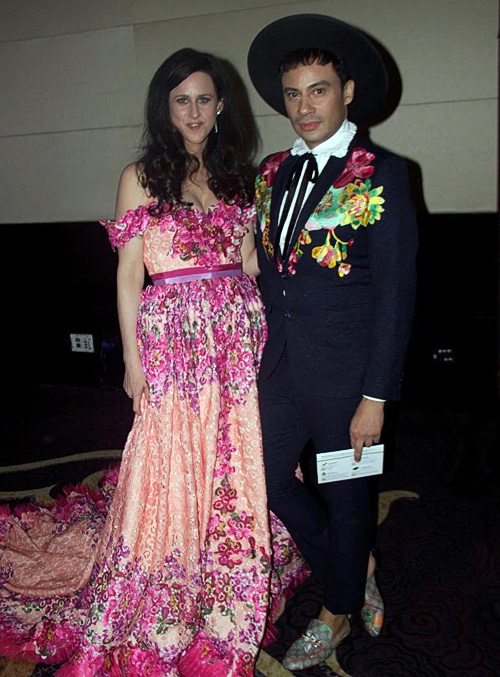 Tanya Wallace in a de Souza gown and Victor de Souza