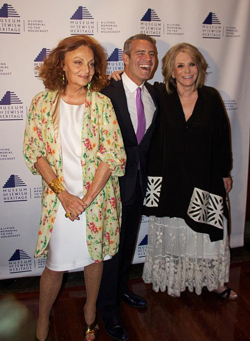 Designer Diane Von Furstenberg, with television personality Andy Cohen, and President of HBO documentaries and co-chair of dinner Sheila Nevins