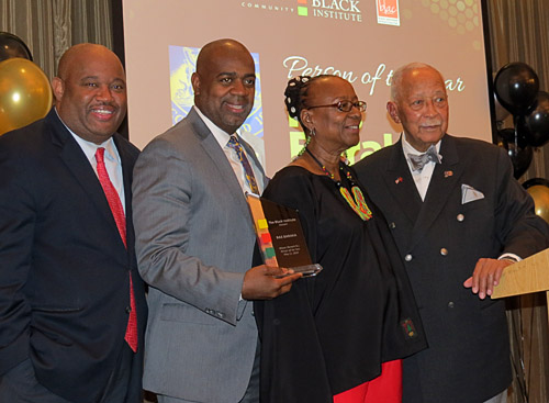 Dominic Carter, Mayor Ras Baraka, Bertha Lewis and Mayor David Dinkins